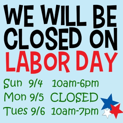 Closed on Labor Day 2016