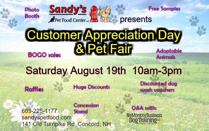 4th Annual Customer Appreciation Day & Pet Fair, August 19th, 2017